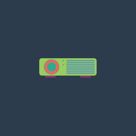 taught: Projector. Colorful vector icon. Simple retro color modern illustration pictogram. Collection concept symbol for infographic project and logo Illustration