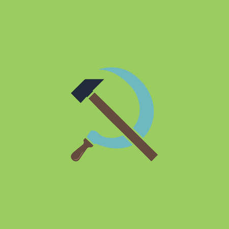 hammer and sickle: Hammer and sickle. Colorful vector icon. Simple retro color modern illustration pictogram. Collection concept symbol for infographic project and logo Illustration