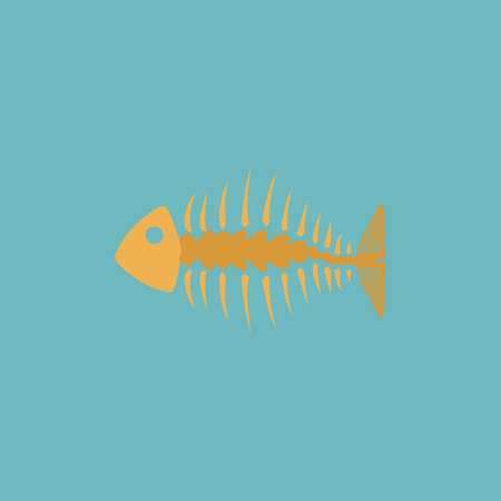 graphic illustration: Fishbone. Colorful vector icon. Simple retro color modern illustration pictogram. Collection concept symbol for infographic project and logo