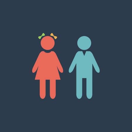 doughter: Girl and boy. Colorful vector icon. Simple retro color modern illustration pictogram. Collection concept symbol for infographic project and logo