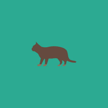 drawing an animal: Silhouettes of cat. Colorful vector icon. Simple retro color modern illustration pictogram. Collection concept symbol for infographic project and logo Illustration