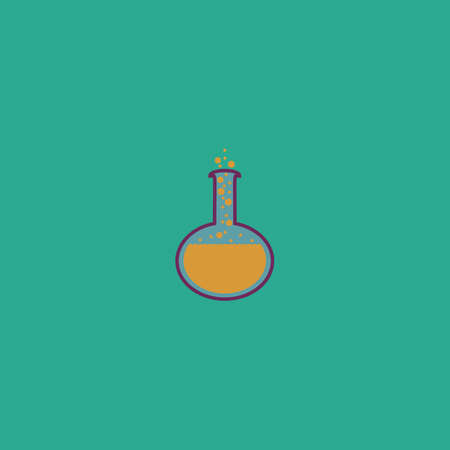 corpuscle: Chemistry bulb. Colorful vector icon. Simple retro color modern illustration pictogram. Collection concept symbol for infographic project and logo