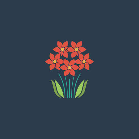 vector symbol: Bush Flower. Colorful vector icon. Simple retro color modern illustration pictogram. Collection concept symbol for infographic project and logo Illustration