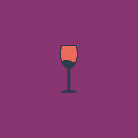 drinkware: Simple Wine glass - Alcohol drink. Colorful vector icon. Simple retro color modern illustration pictogram. Collection concept symbol for infographic project and logo Illustration