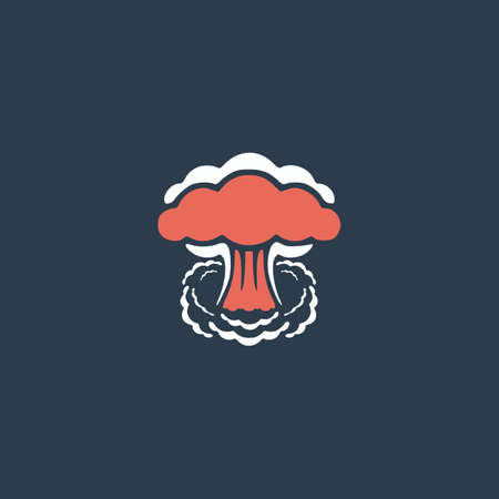 mushroom cloud: Mushroom cloud, nuclear explosion, silhouette. Colorful vector icon. Simple retro color modern illustration pictogram. Collection concept symbol for infographic project and logo