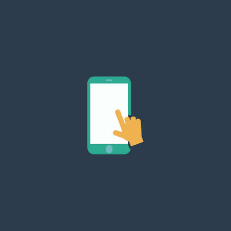 colorful slide: Hand slide smartphone. Colorful vector icon. Simple retro color modern illustration pictogram. Collection concept symbol for infographic project and logo