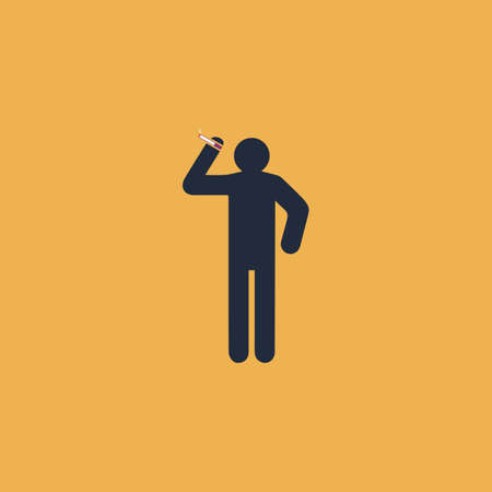 desperation: Man with a cigarette. Colorful vector icon. Simple retro color modern illustration pictogram. Collection concept symbol for infographic project and logo