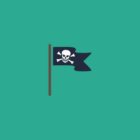 Jolly Roger or Skull and Cross bones Pirate flag. Colorful vector icon. Simple retro color modern illustration pictogram. Collection concept symbol for infographic project and logo