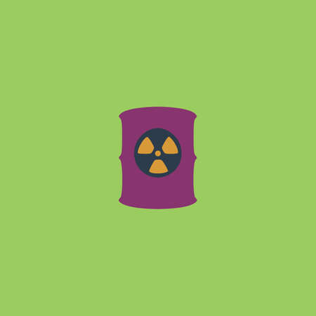hazardous material: Container with radioactive waste. Colorful vector icon. Simple retro color modern illustration pictogram. Collection concept symbol for infographic project and logo
