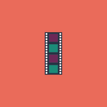 cinematographic: Cinematographic film. Colorful vector icon. Simple retro color modern illustration pictogram. Collection concept symbol for infographic project and logo Illustration