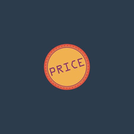price uncertainty: Price Badge Label or Sticker. Colorful vector icon. Simple retro color modern illustration pictogram. Collection concept symbol for infographic project and logo Illustration