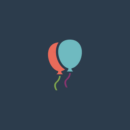 decoration template: Two balloons. Colorful vector icon. Simple retro color modern illustration pictogram. Collection concept symbol for infographic project and logo