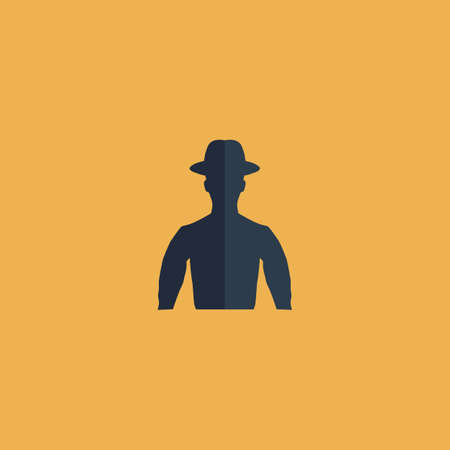 hat project: Man on hat - avatar. Colorful vector icon. Simple retro color modern illustration pictogram. Collection concept symbol for infographic project and logo Illustration