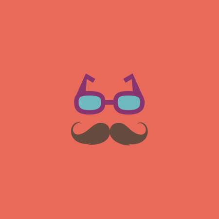 style goatee: Nerd glasses and mustaches. Colorful vector icon. Simple retro color modern illustration pictogram. Collection concept symbol for infographic project and logo