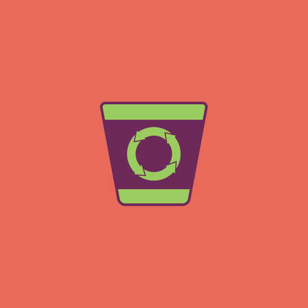 environmental awareness: Recycle bin. Colorful vector icon. Simple retro color modern illustration pictogram. Collection concept symbol for infographic project and logo