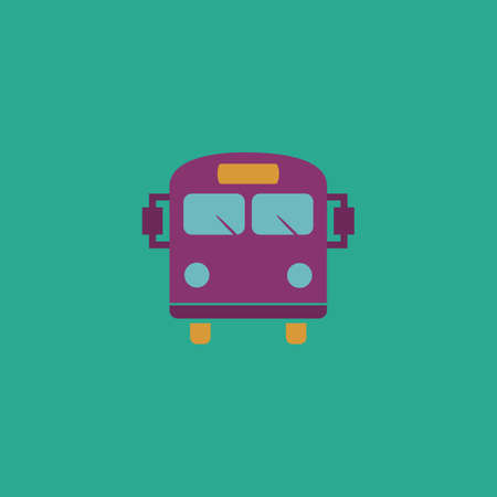 schoolbus: School Bus. Colorful vector icon. Simple retro color modern illustration pictogram. Collection concept symbol for infographic project and logo