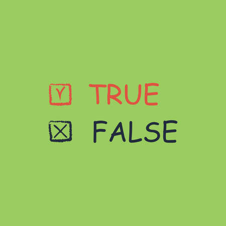 true or false: True and False. Colorful vector icon. Simple retro color modern illustration pictogram. Collection concept symbol for infographic project and logo Illustration