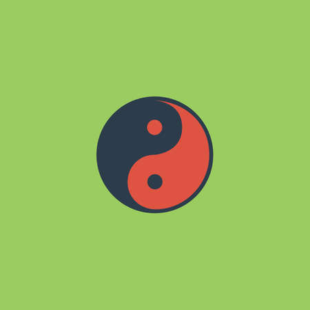 daoism: Ying-yang icon of harmony and balance. Colorful vector icon. Simple retro color modern illustration pictogram. Collection concept symbol for infographic project and logo