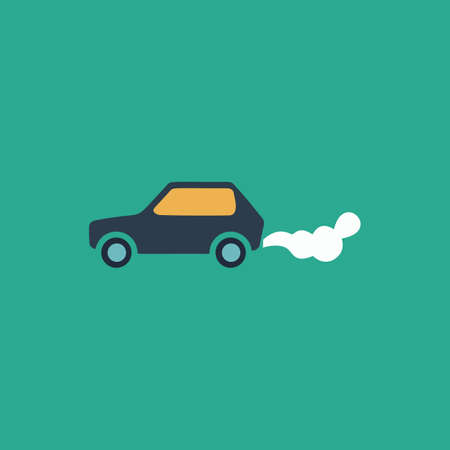 greenhouse gas: Car emits carbon dioxide. Colorful vector icon. Simple retro color modern illustration pictogram. Collection concept symbol for infographic project and logo