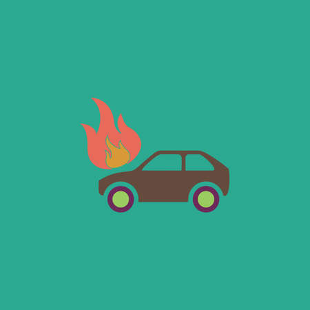 inundation: Car fire. Colorful vector icon. Simple retro color modern illustration pictogram. Collection concept symbol for infographic project and logo