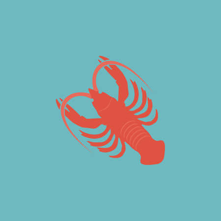 palatable: Crawfish. Colorful vector icon. Simple retro color modern illustration pictogram. Collection concept symbol for infographic project and logo Illustration