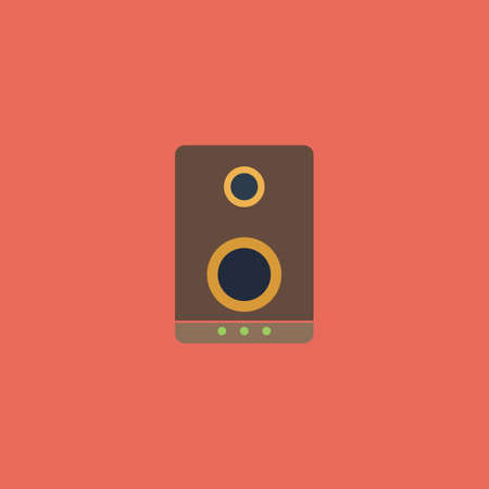 acoustic systems: Music speakers. Colorful vector icon. Simple retro color modern illustration pictogram. Collection concept symbol for infographic project and logo