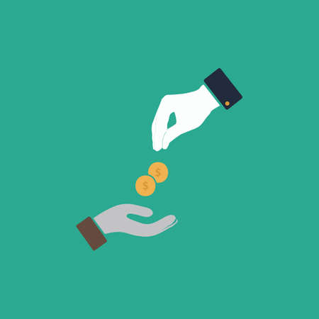 avarice: Hands Giving and Receiving Money. Colorful vector icon. Simple retro color modern illustration pictogram. Collection concept symbol for infographic project and logo
