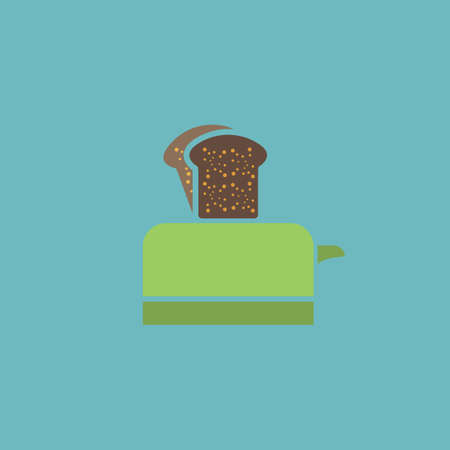 ready cooked: Toaster. Colorful vector icon. Simple retro color modern illustration pictogram. Collection concept symbol for infographic project and logo