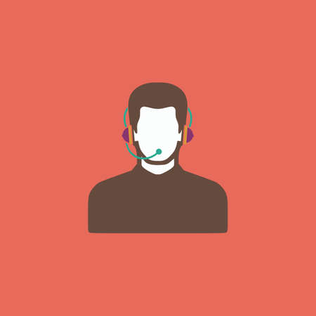 headset symbol: Call center operator with headset. Colorful vector icon. Simple retro color modern illustration pictogram. Collection concept symbol for infographic project and logo Illustration