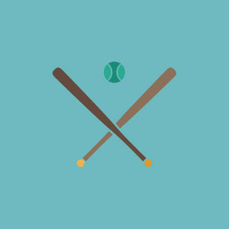 pitching: Crossed baseball bats and ball. Colorful vector icon. Simple retro color modern illustration pictogram. Collection concept symbol for infographic project and logo Illustration