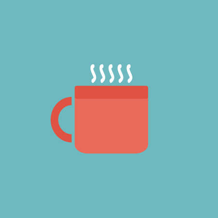 hot cup: Hot tea cup. Colorful vector icon. Simple retro color modern illustration pictogram.