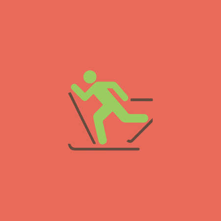 x games: Skiing. Colorful vector icon. Simple retro color modern illustration pictogram. Stock Photo