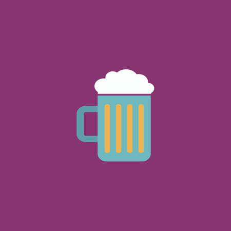 bottled beer: Simple Beer mug. Colorful vector icon. Simple retro color modern illustration pictogram.