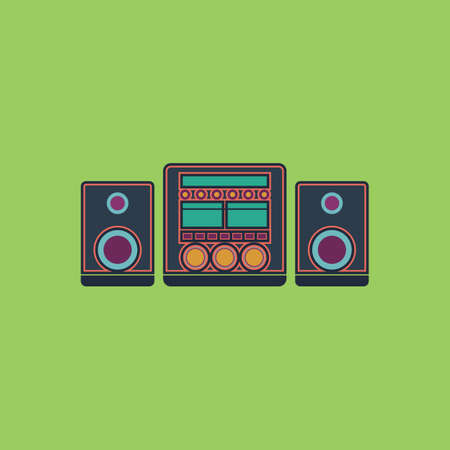 hi fi system: Stereo system. Colorful vector icon. Simple retro color modern illustration pictogram. Stock Photo