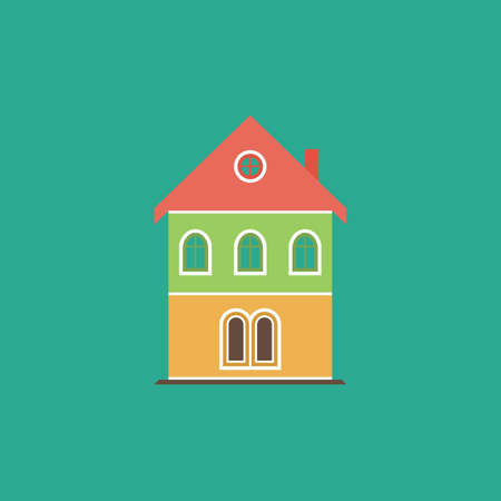 realstate: Simple old house. Colorful vector icon. Simple retro color modern illustration pictogram. Stock Photo