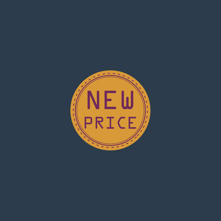 New Price Badge, Label or Sticker. Colorful vector icon. Simple retro color modern illustration pictogram. Illustration