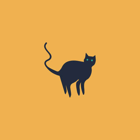 Evil Cat silhouette. Colorful vector icon. Simple retro color modern illustration pictogram.
