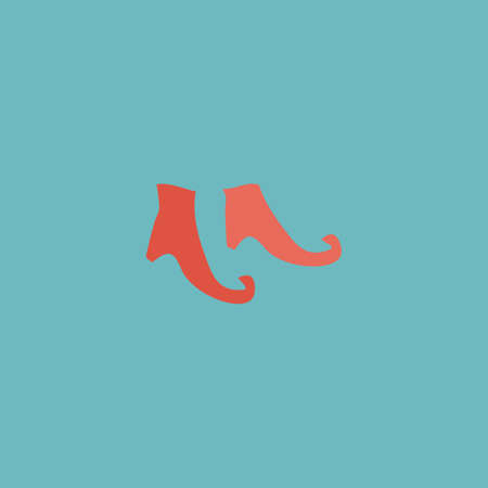 bewitch: Witch boots. Colorful vector icon. Simple retro color modern illustration pictogram.