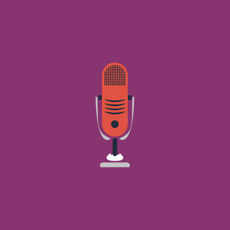 airwaves: Simple retro microphone. Colorful vector icon. Simple retro color modern illustration pictogram.