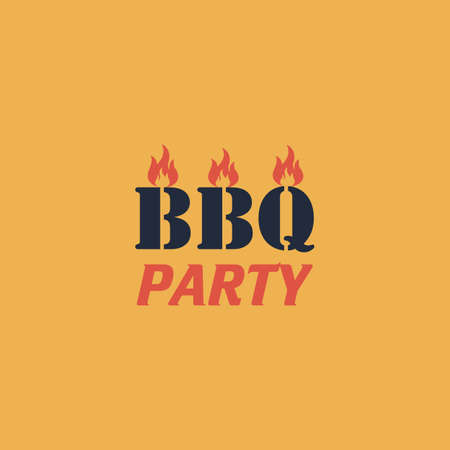 sizzling: Flaming BBQ Party word design element. Colorful vector icon. Simple retro color modern illustration pictogram. Collection concept symbol for infographic project and logo