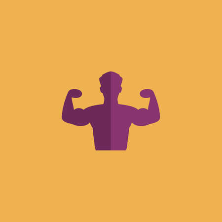 hunk: Bodybuilder Fitness Model. Colorful vector icon. Simple retro color modern illustration pictogram.