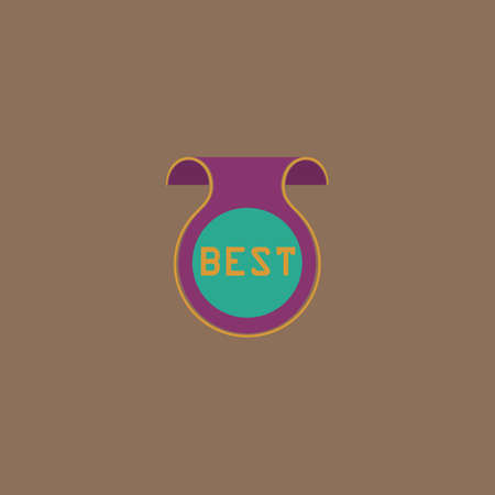 best message: Bookmark with Best message. Colorful vector icon. Simple retro color modern illustration pictogram.