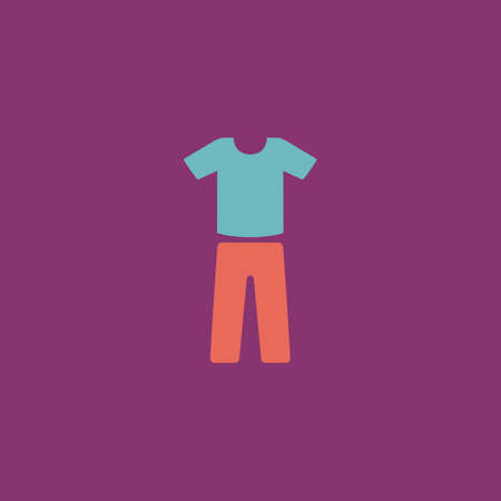 v neck: Uniform - pants and t-shirt. Colorful vector icon. Simple retro color modern illustration pictogram. Collection concept symbol for infographic project and logo