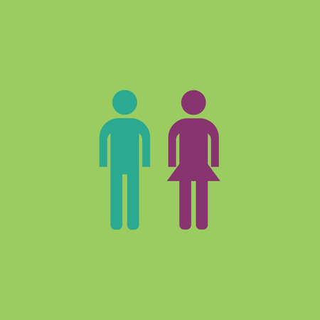 compliant: Simple man and woman. Colorful vector icon. Simple retro color modern illustration pictogram. Collection concept symbol for infographic project