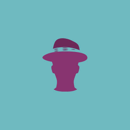 hat project: Man head with hat. Colorful vector icon. Simple retro color modern illustration pictogram. Collection concept symbol for infographic project