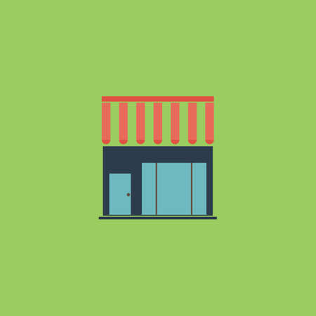 urbanization: Simple shop. Colorful vector icon. Simple retro color modern illustration pictogram. Collection concept symbol for infographic project