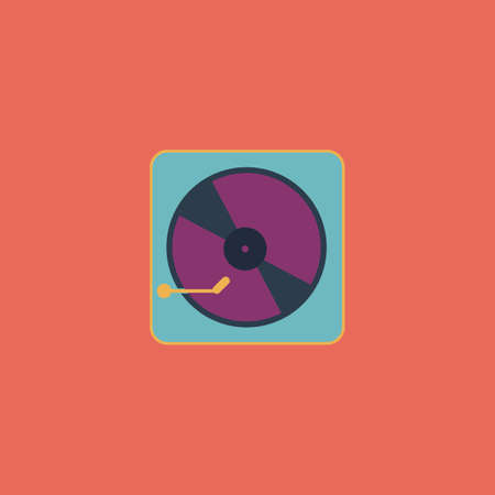 record: Vinyl record player. Colorful vector icon. Simple retro color modern illustration pictogram. Collection concept symbol for infographic project