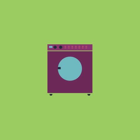 fully automatic: Washing machine. Colorful vector icon. Simple retro color modern illustration pictogram. Collection concept symbol for infographic project