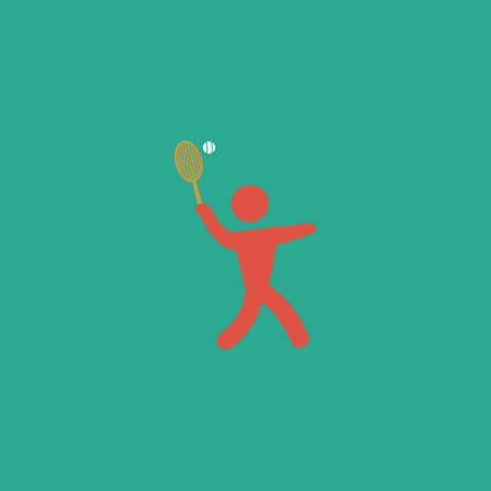 greco: Tennis player, silhouette. Colorful vector icon. Simple retro color modern illustration pictogram. Collection concept symbol for infographic project