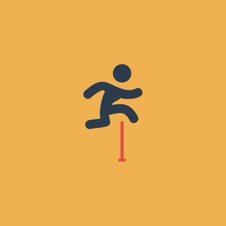 Man figure jumping over obstacles. Colorful vector icon. Simple retro color modern illustration pictogram. Collection concept symbol for infographic project Stock Illustratie